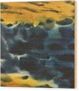 Fire In Blue Wood Print