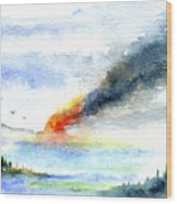 Fire in the Mountains Wood Print