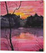 Fire In The Sky    Lake Arrowhead Maine Wood Print