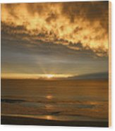Fire In The Sky Maui Hawaii Wood Print