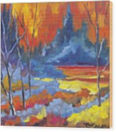 Fire Lake Wood Print