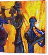 Fire Music Wood Print