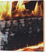 Fire On Wood Wood Print