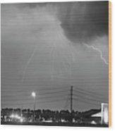 Fire Rescue Station 67  Lightning Thunderstorm Black And White Wood Print