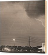 Fire Rescue Station 67  Lightning Thunderstorm Sepia Black And W Wood Print