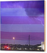 Fire Rescue Station 67  Lightning Thunderstorm With Usa Flag Wood Print