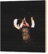 Fire Spinning - 8 Wood Print