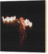 Fire Spinning With Fern - 15 Wood Print