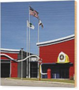 Fire Station Disney Style Wood Print