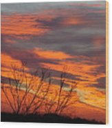 Fire Sunrise Wood Print