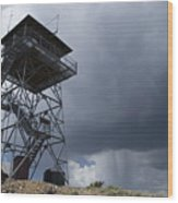 Fire Tower On Bald Mountain Surrounded Wood Print
