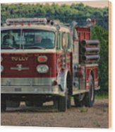 Fire Truck  Engine 13 Village Of Tully New York Pa Wood Print
