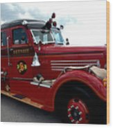 Fire Truck Selfridge Michigan Wood Print