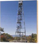 Fire Watch Tower Overlook Mountain Wood Print