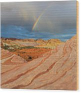 Fire Wave Rainbow Dawn Wood Print
