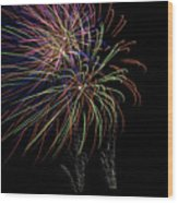 Fire Works Wood Print by Kelly Schuler