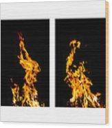 Fire X 6 Wood Print by Tomasz Dziubinski
