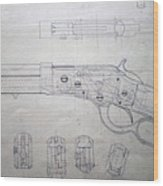 Firearms Lever Action Rifle Drawing Wood Print