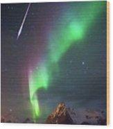 Fireball In The Aurora Wood Print