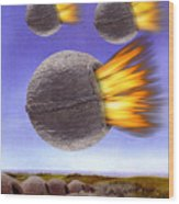 Fireballs Wood Print