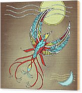 Firebird With Sun And Moon Wood Print