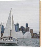 Fireboat Sail By Wood Print