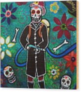 Firefighter Day Of The Dead Wood Print