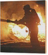 Firefighter In Silhouette Wood Print