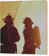 Firefighters In Silhouette Wood Print