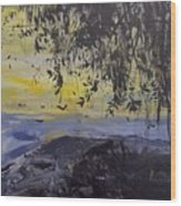 Fireflies Nocturne Wood Print