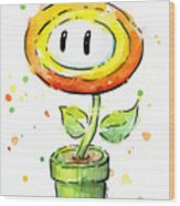 Fireflower Watercolor Wood Print