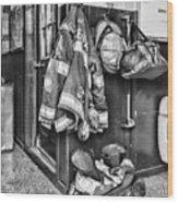 Fireman - Always Ready - Black And White Wood Print