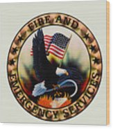 Fireman - Fire And Emergency Services Seal Wood Print