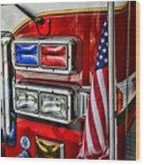 Fireman - Fire Truck Wood Print