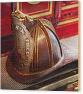 Fireman - Hat - Commander  Wood Print