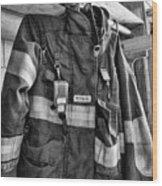 Fireman - Saftey Jacket Black And White Wood Print