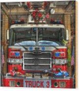 Fireman - Fire Engine Wood Print by Lee Dos Santos