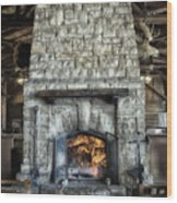 Fireplace At The Lodge Vertical Wood Print
