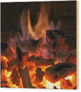 Fireplace Flames Wood Print by Francisco Leitao