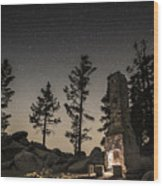 Fireplace Under The Stars Wood Print