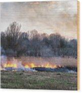 Fires Sunset Landscape Wood Print