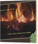 Fireside Christmas Greeting Wood Print