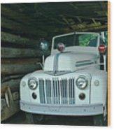 Firetruck In A Barn Wood Print