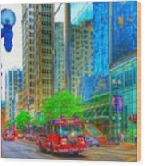 Firetruck In Chicago Wood Print