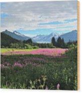 Fireweed At Mendenhall Glacier, Juneau, Ak Wood Print