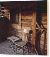 Firewood And A Chair On The Porch Wood Print