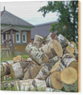 Firewood In The Village Wood Print