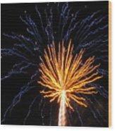 Firework Blue And Gold Wood Print