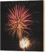 Firework Pink And Gold Wood Print