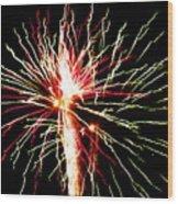 Firework Pink And Green Streaks Wood Print
